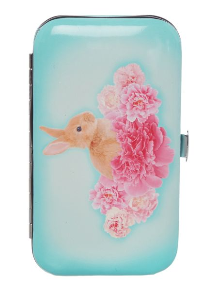 Catseye Blue bunny on flower nail care set