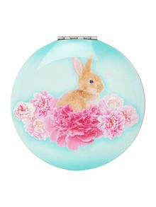 Catseye Blue bunny on flower clam mirror