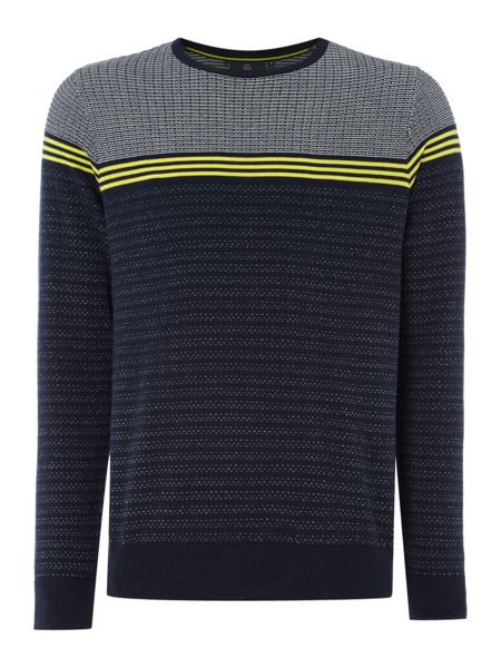 Duck and Cover Bearing textured plaited stripe jumper