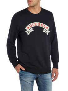 Diesel Star banner crew neck sweat top