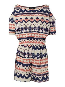 Girls Cut Away Shoulder all over Print Playsuit