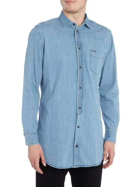 Diesel Regular fit long line chambray denim shirt