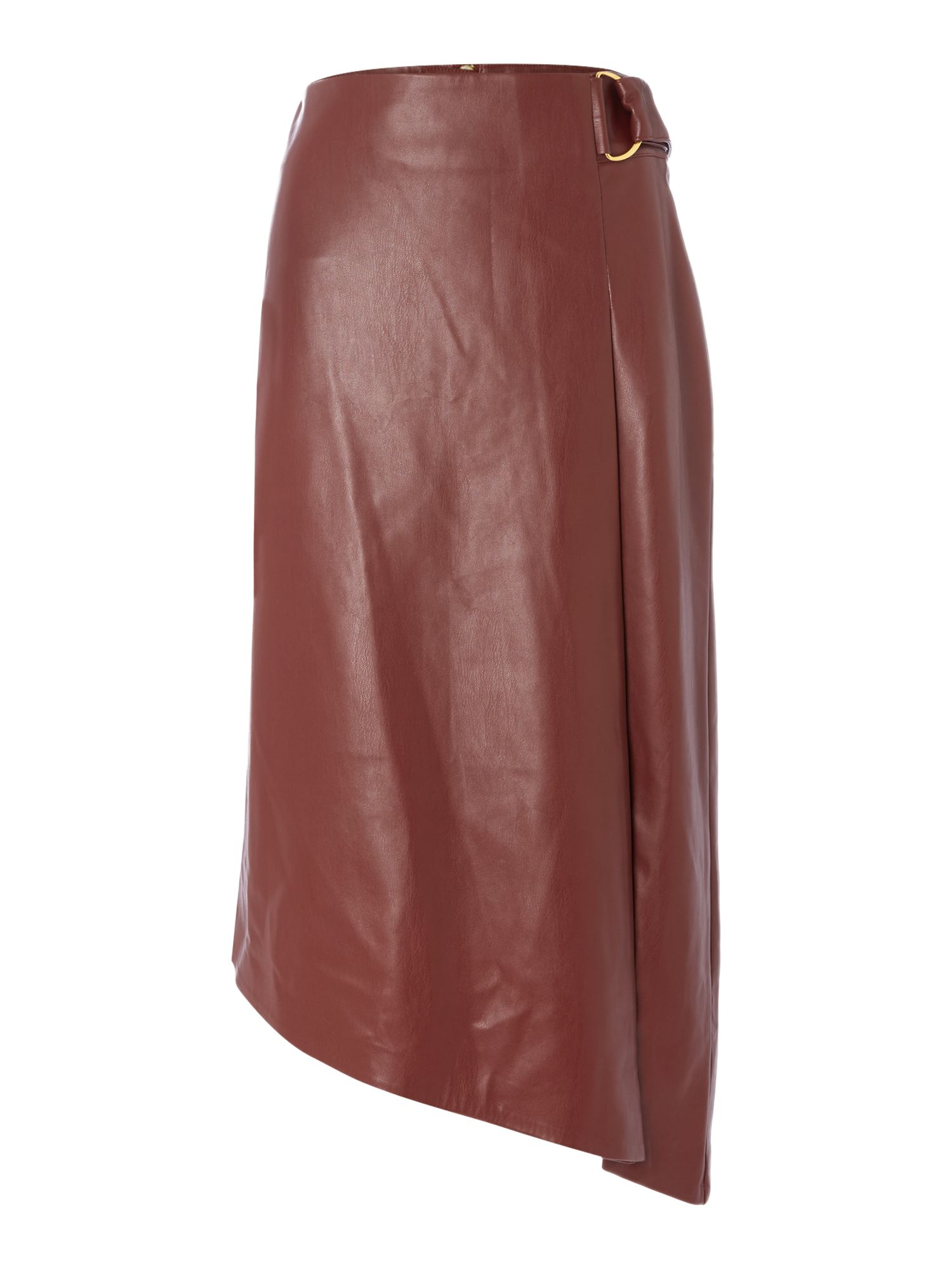 Biba Faux leather assymetric d ring skirt, Red