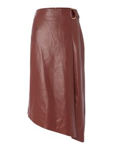 Biba Faux leather assymetric d ring skirt