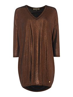 Bronze metallic loose tunic dress
