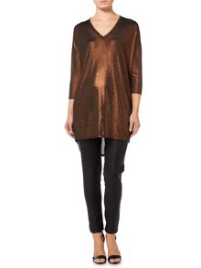 Biba Bronze metallic loose tunic dress