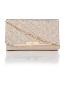 Juno Gold quilted fold over chain clutch