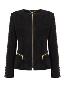 Biba Biba gold eyelet detail real suede jacket