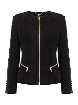 Biba gold eyelet detail real suede jacket
