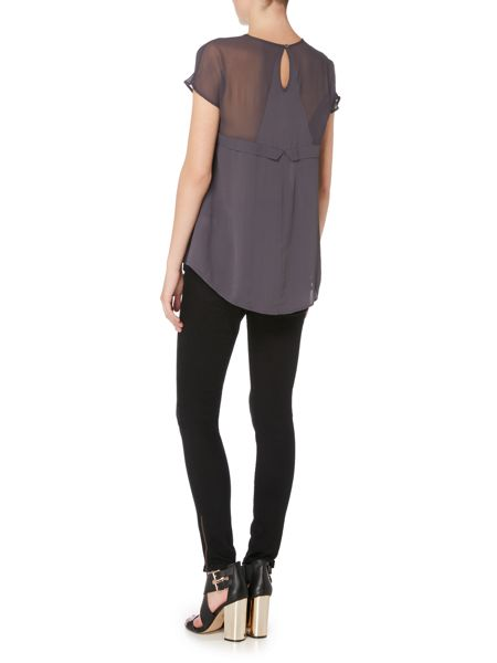 Label Lab Sheer yoke fabric mix tee