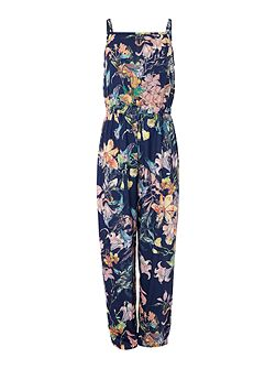 Girls Strappy all over Print jumpsuit
