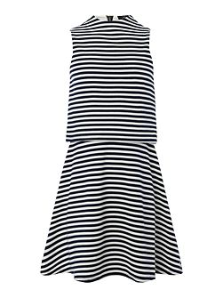 Girls Double Layer Stripe Jersey Dress