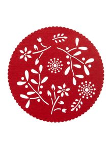 Linea Red felt flower placemats set of 4