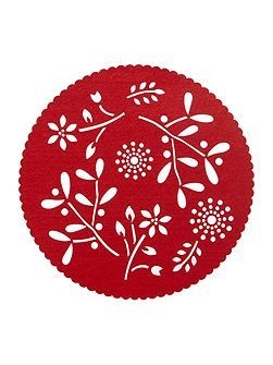 Red felt flower placemats set of 4