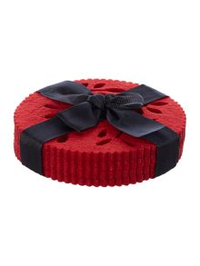Linea Red felt flower coasters set of 4