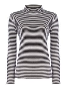 Dickins & Jones Briony Polo Neck Jersey Stripe Top