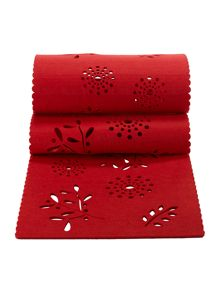 Linea Red floral felt runner