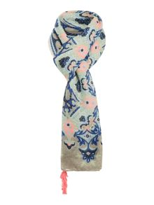 Pieces Floral tasselled long scarf