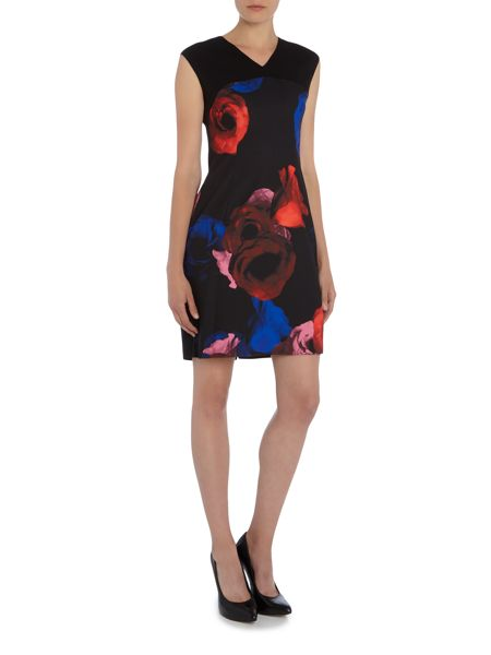 Ellen Tracy Cap sleeve floral printed shift dress