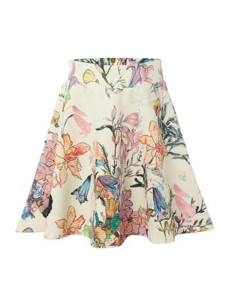 Blush Girls Ribbed Floral Print A Line Skirt