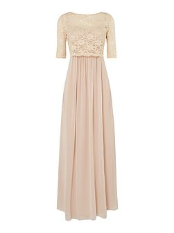 Pleated chiffon gown with removable lace top