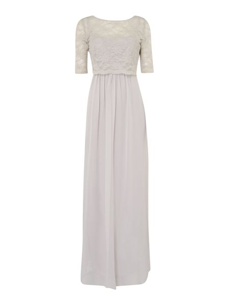 Ariella Pleated chiffon gown with removable lace top