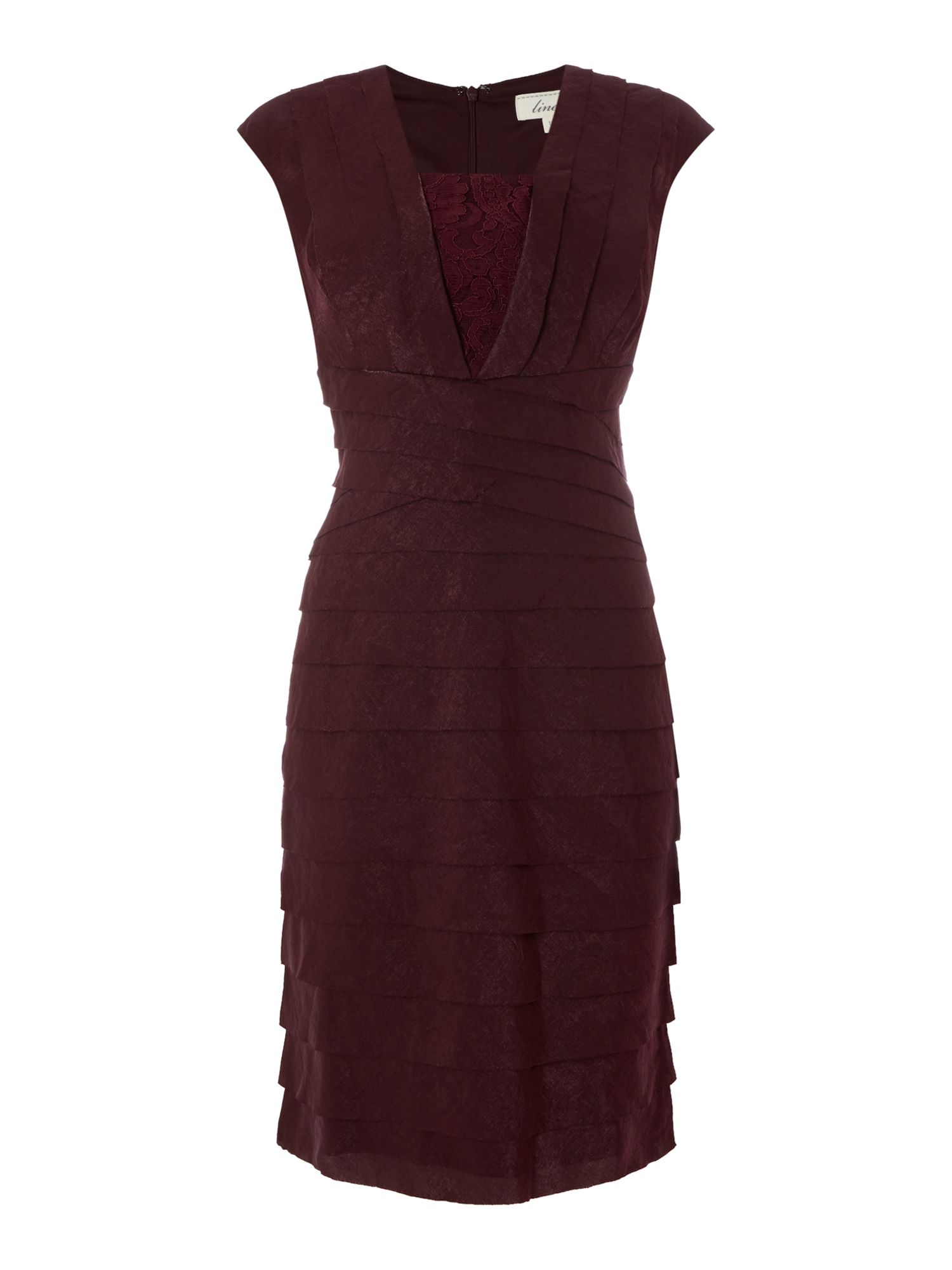 Linea Lace Insert Illusion Dress, Berry