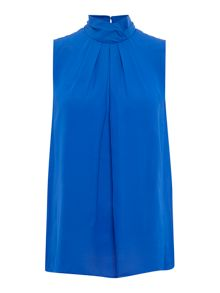 Ellen Tracy Sleeveless high neck pleat front top