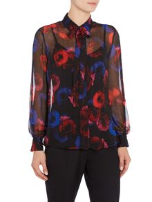 Ellen Tracy Floral printed blouse with tie neck
