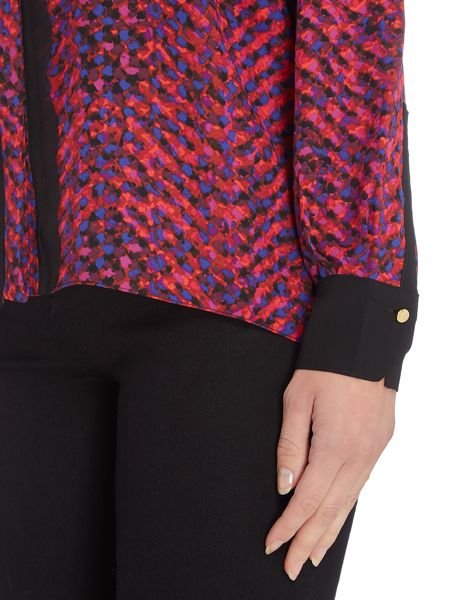 Ellen Tracy Printed blouse with trim and tie neck