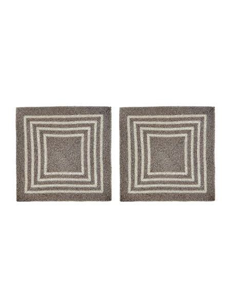 Linea Silver and cream beaded placemats set of 2