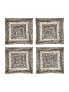 Linea Silver and cream coasters set of 4