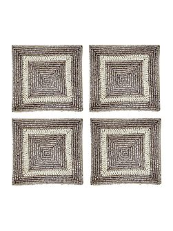 Silver and cream coasters set of 4