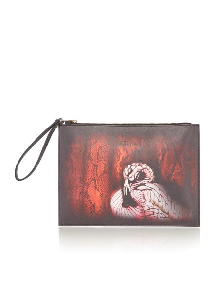 Just Cavalli Red print clutch bag