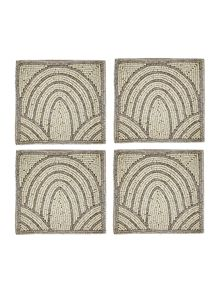 Linea Scallop beaded coaster set of 4
