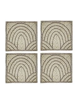 Scallop beaded coaster set of 4