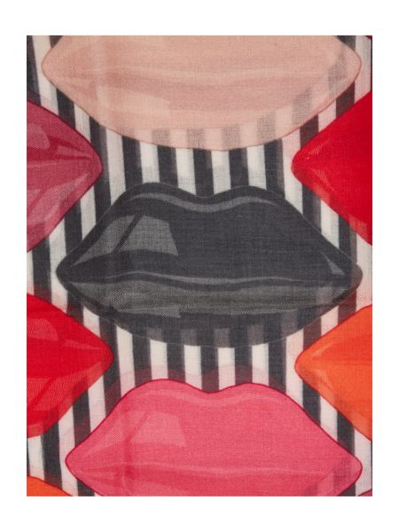 Lulu Guinness Lips and stripe print wool scarf