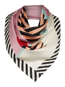 Lulu Guinness Anna doll face silk square scarf