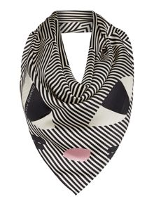 Lulu Guinness Kooky cat silk square scarf
