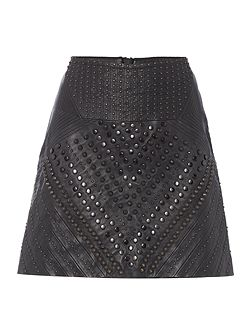 Limited edition leather studded skirt