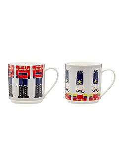 Nutcracker stackable mugs set of 2