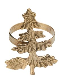 Linea Gold christmas tree napkins rings set of 4