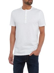 Michael Kors Slim fit slub stripe henley t shirt