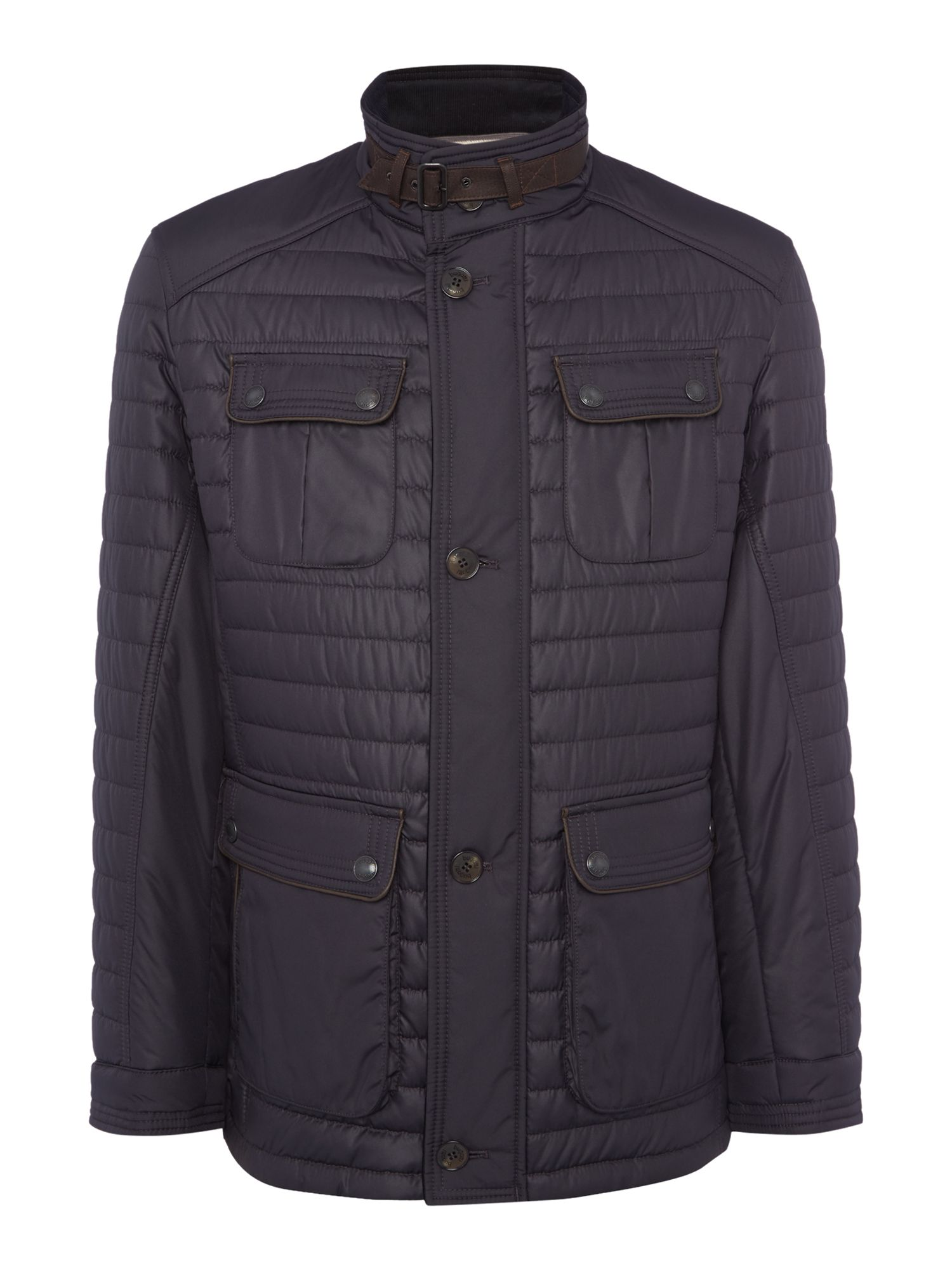 Bugatti Men's Bugatti Four-Pocket Mid Length Quilted Coat, Navy
