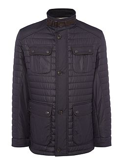 Four-Pocket Mid Length Quilted Coat