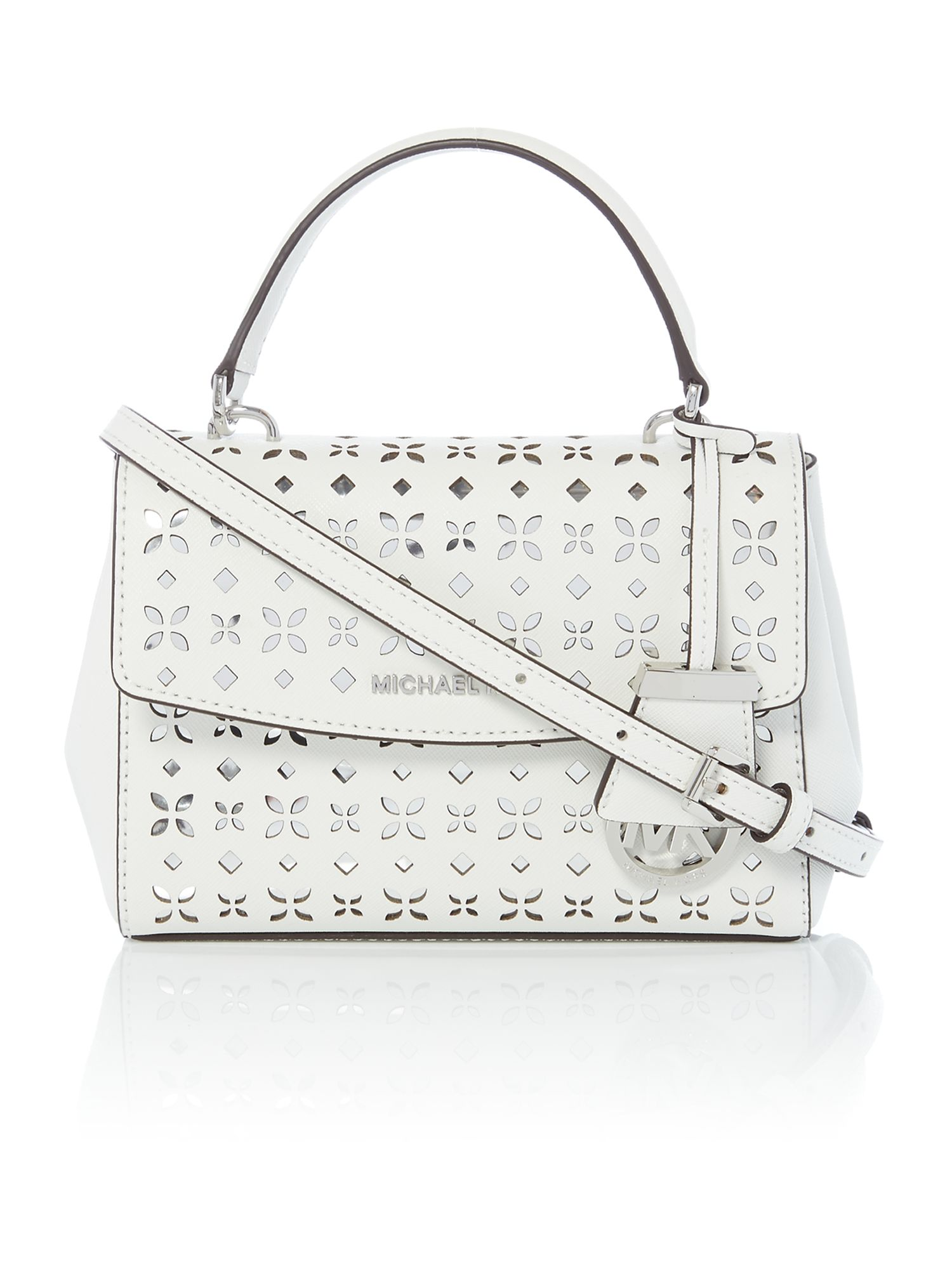Michael Kors Ava White Mini Crossbody Satchel Bag