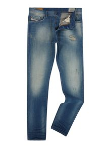 Diesel Tepphar 854V carrot fit green cast destroyed jean