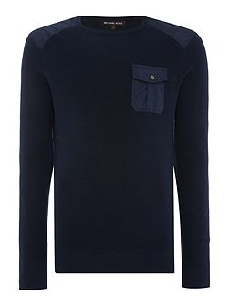 Crew neck contrast pocket military jumper