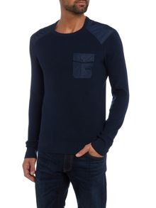 Michael Kors Crew neck contrast pocket military jumper