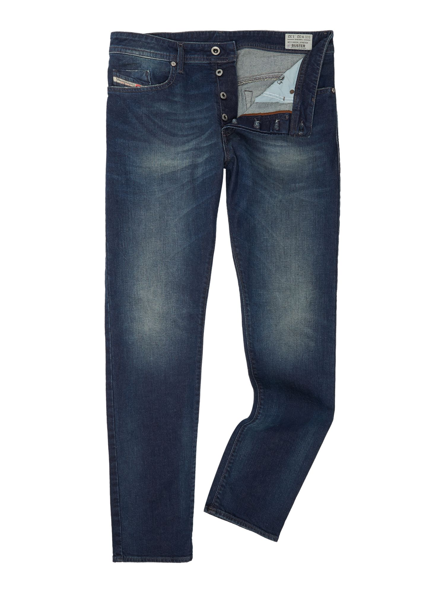 Mens Buster 853r Tapered Mid Wash Jeans, Denim Mid Wash